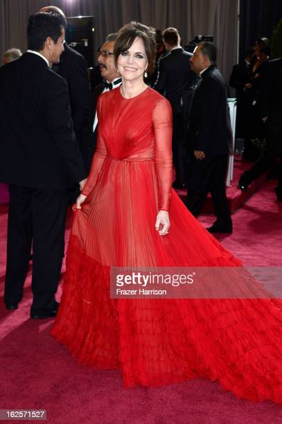 Actress Sally Field arrives at the Oscars at Hollywood Highland Center on February 24 2013 in Hollywood California