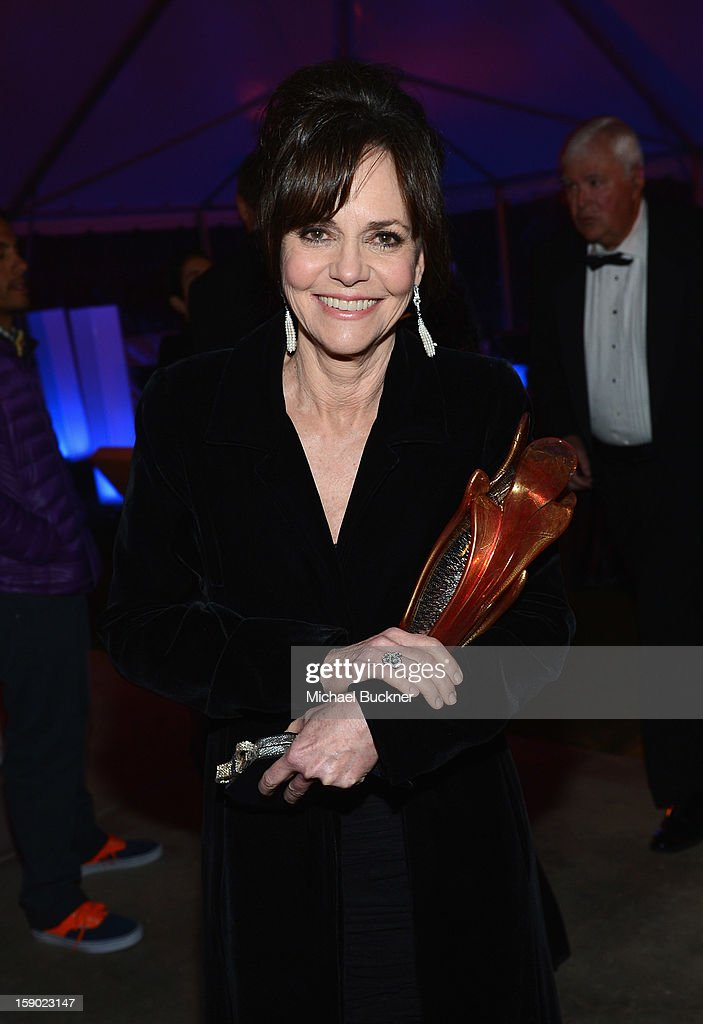 Actress Sally Field poses with the Career Achievement Award at the the 24th Annual Palm Springs International Film Festival Awards Gala After Party At Parker Palm Springs on January 5, 2013 in Palm Springs, California.