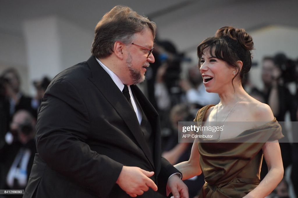 Actress Sally Hawkins and director Guillermo Del Toro arrive at the premiere of the movie 'The Shape of Water' presented in competition 'Venezia 74' at the 74th Venice Film Festival on August 31, 2017 at Venice Lido. / AFP PHOTO / Tiziana FABI