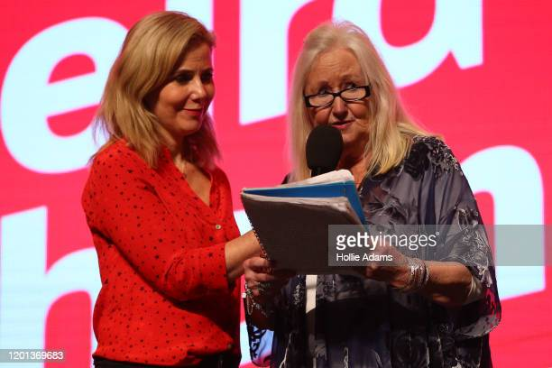Actress Sally Phillips and Aneira Thomas the first person to be born on the NHS speak a the leadership campaign rally for Labour leadership candidate...