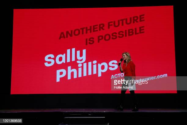 Actress Sally Phillips hosts the leadership campaign rally for Labour leadership candidate Sir Keir Starmer at the Roundhouse on February 16 2020 in...