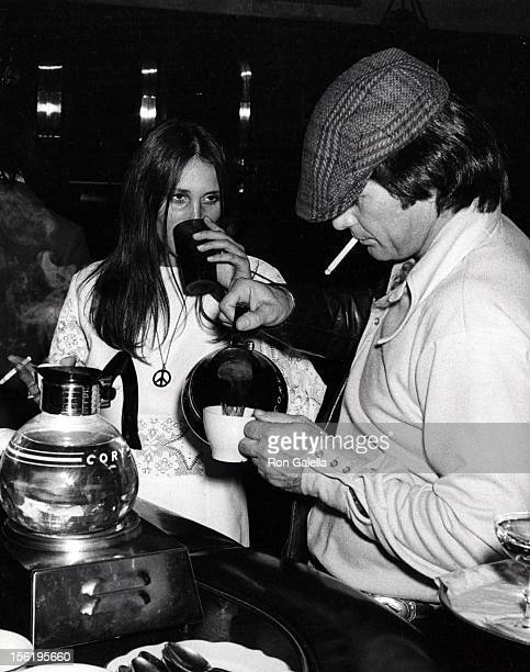 Actress Sally Warren and actor James Stacy attend the preview of 'Magic Christian' on January 29 1970 at the Music Hall Theater in Los Angeles...