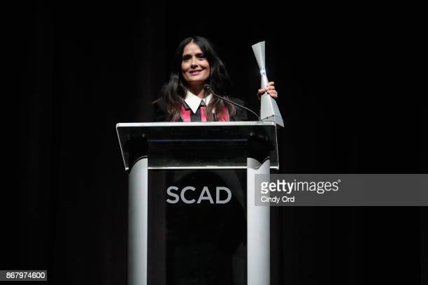 Actress Salma Hayek accepts Outstanding Achievement In Cinema Award onstage at Trustees Theater during 20th Anniversary SCAD Savannah Film Festival...