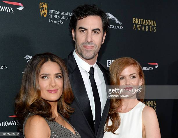 Actress Salma Hayek actor Sacha Baron Cohen and actress Isla Fisher with Stylebopcom attend the 2013 BAFTA LA Jaguar Britannia Awards presented by...