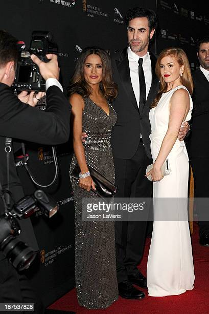 Actress Salma Hayek, actor Sacha Baron Cohen and actress Isla Fisher attend the BAFTA Los Angeles Britannia Awards at The Beverly Hilton Hotel on...