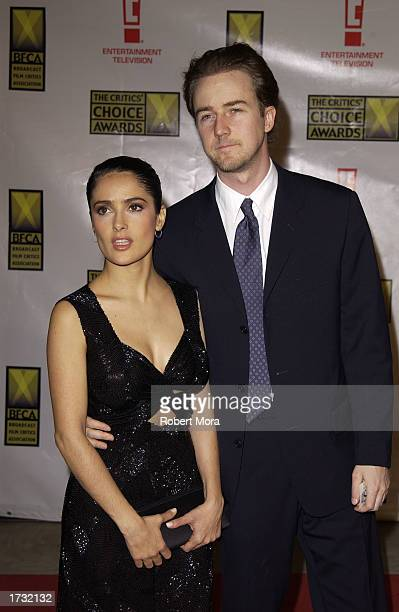 Actress Salma Hayek and actor Edward Norton attend the 8th Annual Critics' Choice Awards at the Beverly Hills Hotel on January 17 2003 in Beverly...