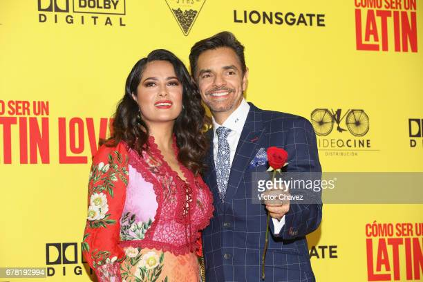 Actress Salma Hayek and actor Eugenio Derbez attend the 'How To Be A Latin Lover' Mexico City premiere at Teatro Metropolitan on May 3 2017 in Mexico...