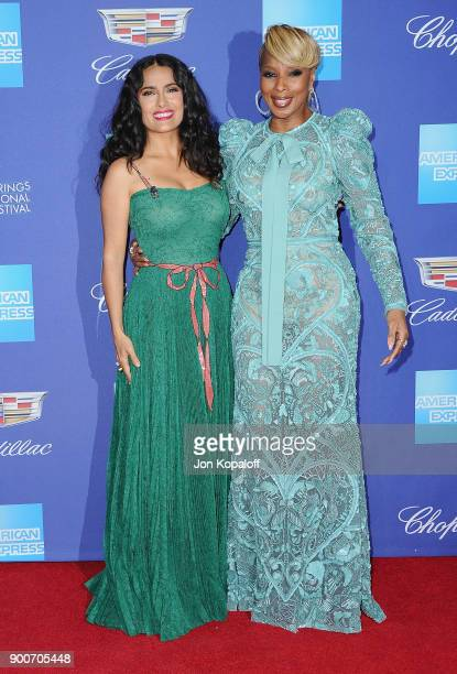 Actress Salma Hayek and actress Mary J Blige attend the 29th Annual Palm Springs International Film Festival Awards Gala at Palm Springs Convention...