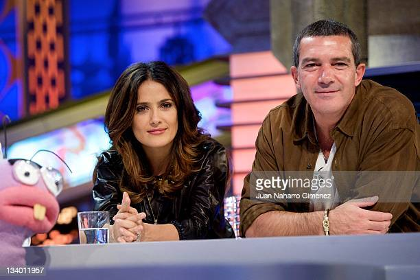 Actress Salma Hayek and Antonio Banderas attend 'El Hormiguero' Tv show at Vertice 360 Studio on November 23 2011 in Madrid Spain