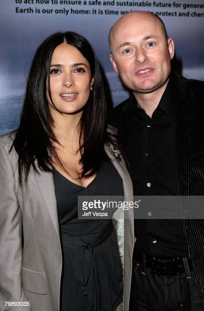 Actress Salma Hayek and CEO of IWC Georges Kern at Global Green USA's 5th Annual Pre Oscar Party raising awareness about smart climate solutions and...