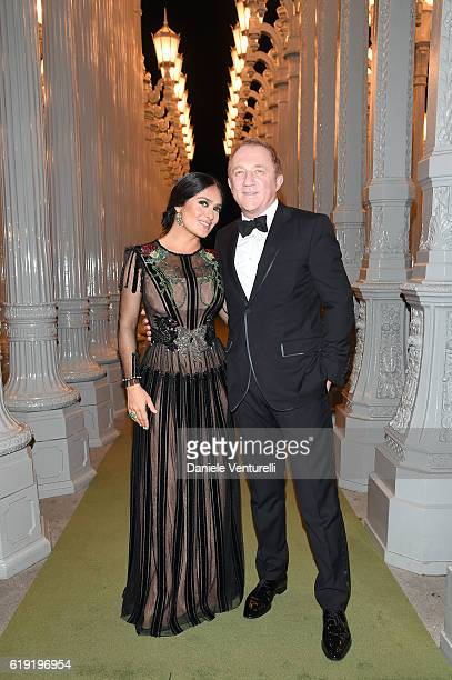 Actress Salma Hayek and CEO of Kering FrancoisHenri Pinault attends the 2016 LACMA Art Film Gala Honoring Robert Irwin and Kathryn Bigelow Presented...