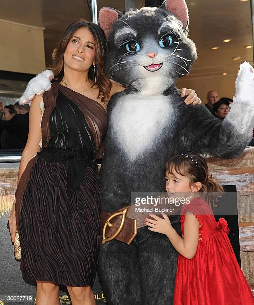"""Actress Salma Hayek and daughter Valentina Paloma Pinault arrive at the premiere of Dreamworks Animation's """"Puss In Boots"""" at the Regency Westwood..."""