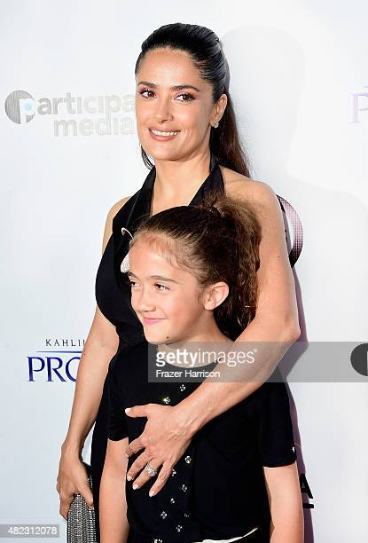 """Actress Salma Hayek and daughter Valentina Paloma Pinault arrive at the Screening of GKIDS' """"Kahlil Gibran's The Prophet"""" at Bing Theatre At LACMA on..."""