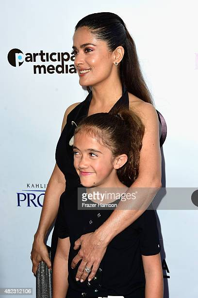 """Actress Salma Hayek and daughterValentina Paloma Pinault arrive at the Screening of GKIDS' """"Kahlil Gibran's The Prophet"""" at Bing Theatre At LACMA on..."""
