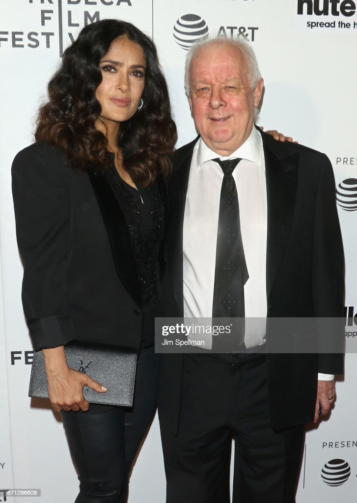 Actress Salma Hayek and director Jim Sheridan attend the Shorts Program: New York - Group Therapy during the 2017 Tribeca Film Festival at Regal Battery Park Cinemas on April 21, 2017 in New York City.
