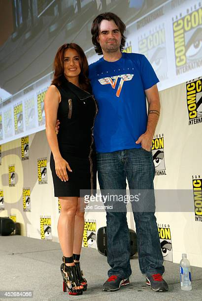 Actress Salma Hayek and director Joe Lynch attend RADiUSTWC Horns Everly panels during ComicCon International 2014 at San Diego Convention Center on...