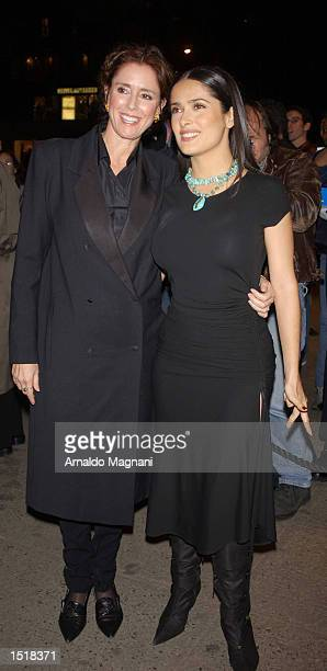 Actress Salma Hayek and director Julie Taymor attend the premiere of Frida October 23 2002 at the Cinema 11 Theater on 3rd Avenue in New York City