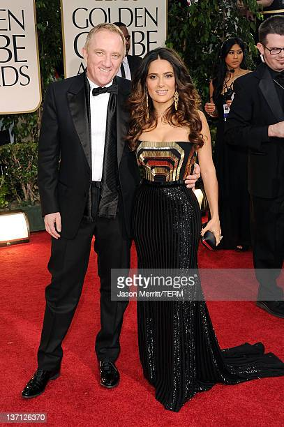 Actress Salma Hayek and Francois-Henri Pinault arrive at the 69th Annual Golden Globe Awards held at the Beverly Hilton Hotel on January 15, 2012 in...