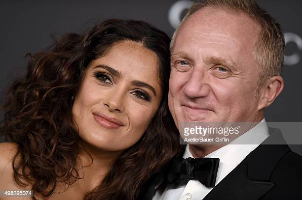 Actress Salma Hayek and FrancoisHenri Pinault arrive at the LACMA 2015 ArtFilm Gala Honoring James Turrell And Alejandro G Inarritu Presented By...
