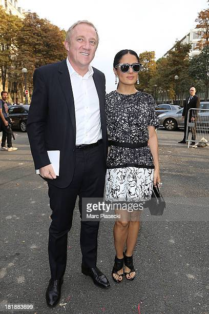 Actress Salma Hayek and FrancoisHenri Pinault arrive to attend the 'Balenciaga' show as part of the Paris Fashion Week Womenswear Spring/Summer 2014...