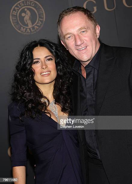 Actress Salma Hayek and FrancoisHenri Pinault attend a reception to benefit UNICEF hosted by Gucci during MercedesBenz Fashion Week Fall 2008 at The...