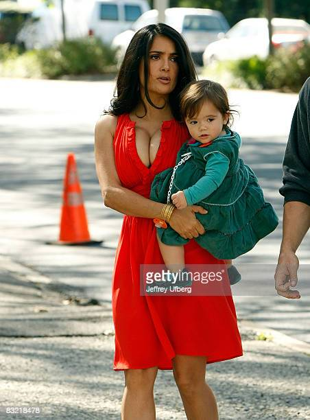 Actress Salma Hayek and her baby Valentina filming on location for '30 Rock' on October 10 2008 in New York City