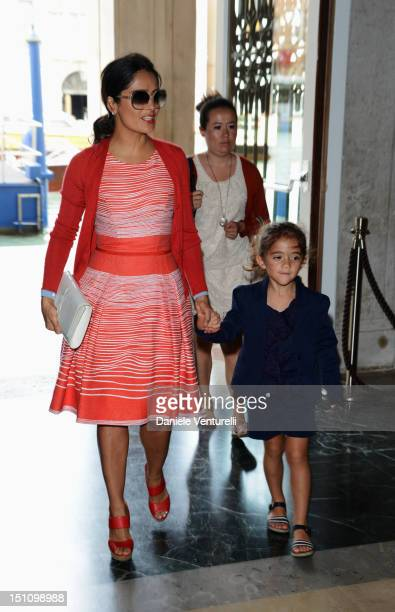 """Actress Salma Hayek and her daughter Valentina Pinault attend the """"La Voce Delle Immagini"""" Exhibition at the Palazzo Grassi on September 1, 2012 in..."""