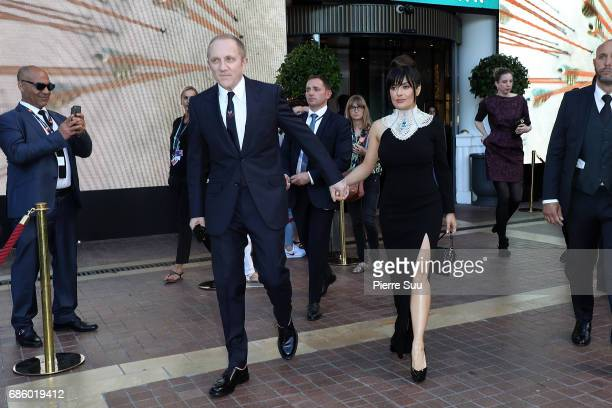 Actress Salma Hayek and her husband Franois Henri Pinault spotted during the 70th annual Cannes Film Festival at on May 20 2017 in Cannes France