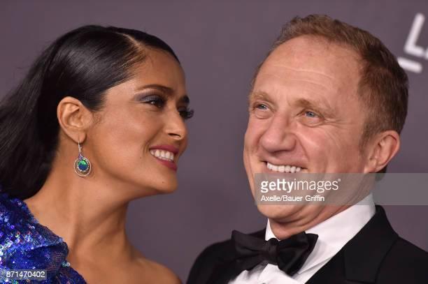 Actress Salma Hayek and husband Francois-Henri Pinault arrive at the 2017 LACMA Art + Film Gala at LACMA on November 4, 2017 in Los Angeles,...