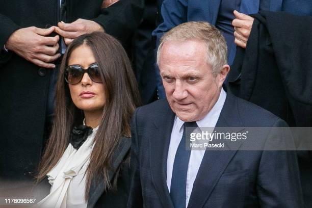 Actress Salma Hayek and husband Francois-Henri Pinault attend former french President Jacques Chirac's funeral at Eglise Saint-Sulpice on September...