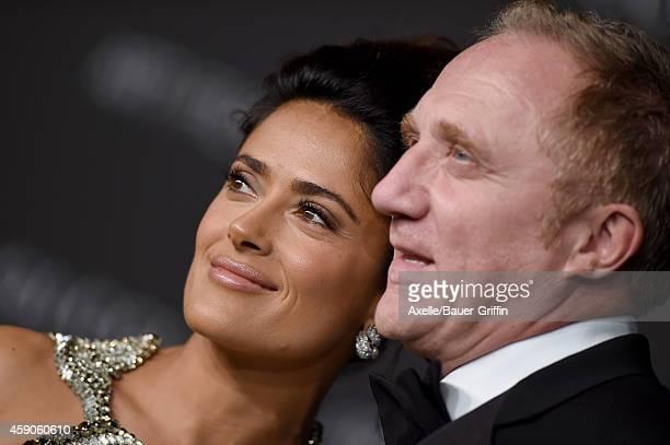 Actress Salma Hayek and husband FrancoisHenri Pinault attend the 2014 LACMA Art Film Gala Honoring Barbara Kruger And Quentin Tarantino Presented By...