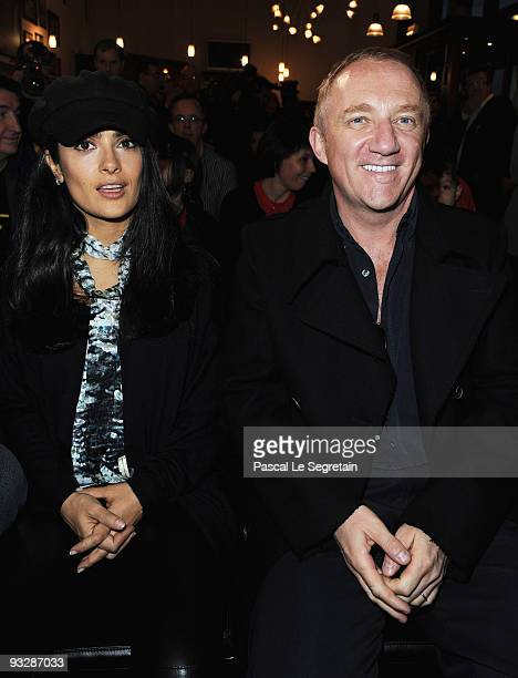 """Actress Salma Hayek and husband Francois-Henri Pinault attend the launch of ELA Association """"Gift for Chance"""" campaign at Stade Rennais F.C. On..."""