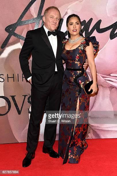 Actress Salma Hayek and husband FrancoisHenri Pinault attend The Fashion Awards 2016 on December 5 2016 in London United Kingdom