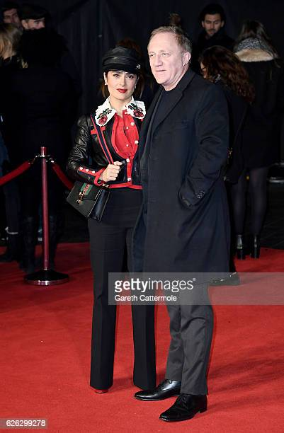 Actress Salma Hayek and husband FrançoisHenri Pinault attend the World Premiere of 'I Am Bolt' at Odeon Leicester Square on November 28 2016 in...