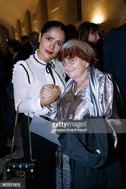 Actress Salma Hayek and photographer Agnes Varda attend the 4O Rue de Sevres Preview at the Head Offices of Both Kering and Balenciaga building The...