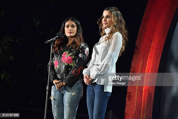 Actress Salma Hayek and Queen Rania AlAbdullah of Jordan speak onstage at the 2016 Global Citizen Festival In Central Park To End Extreme Poverty By...
