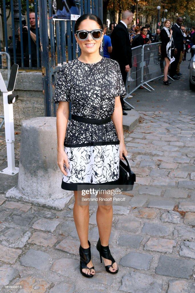 Actress Salma Hayek arrives at Balenciaga show as part of the Paris Fashion Week Womenswear Spring/Summer 2014, on September 26, 2013 in Paris, France.