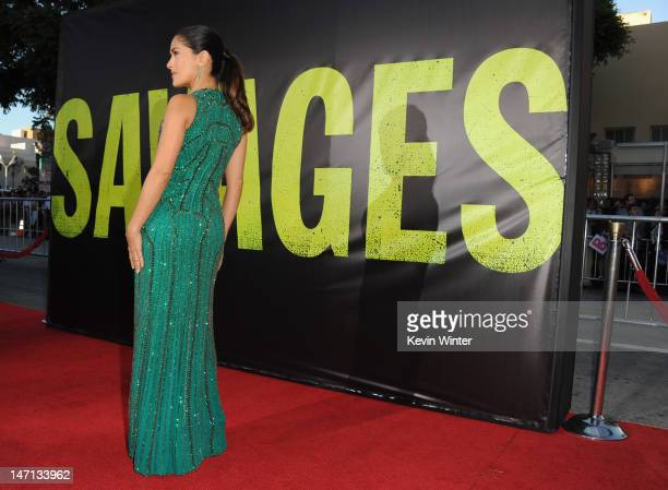 Actress Salma Hayek arrives at Premiere of Universal Pictures' 'Savages' at Westwood Village on June 25 2012 in Los Angeles California