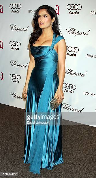 Actress Salma Hayek arrives at the 14th Annual Elton John Academy Awards viewing party held at the Pacific Design Center on March 5 2006 in West...