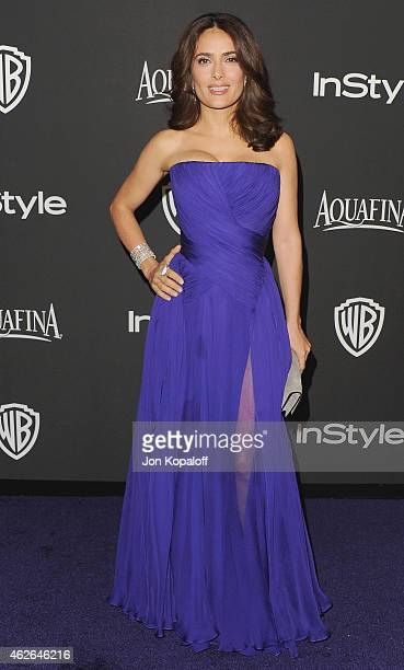 Actress Salma Hayek arrives at the 16th Annual Warner Bros And InStyle PostGolden Globe Party at The Beverly Hilton Hotel on January 11 2015 in...