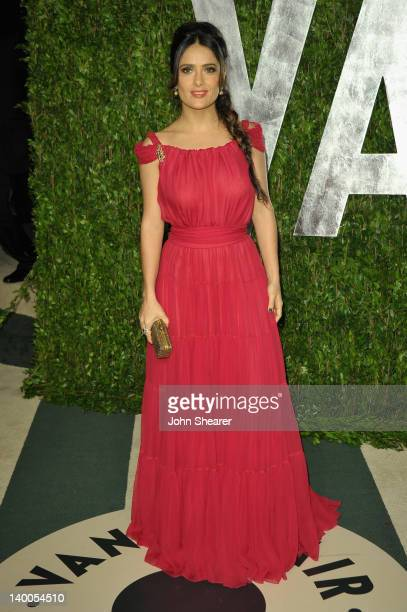 Actress Salma Hayek arrives at the 2012 Vanity Fair Oscar Party hosted by Graydon Carter at Sunset Tower on February 26 2012 in West Hollywood...