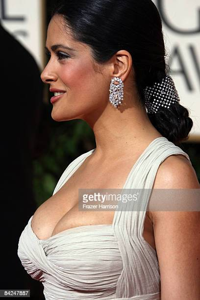 Actress Salma Hayek arrives at the 66th Annual Golden Globe Awards held at the Beverly Hilton Hotel on January 11 2009 in Beverly Hills California
