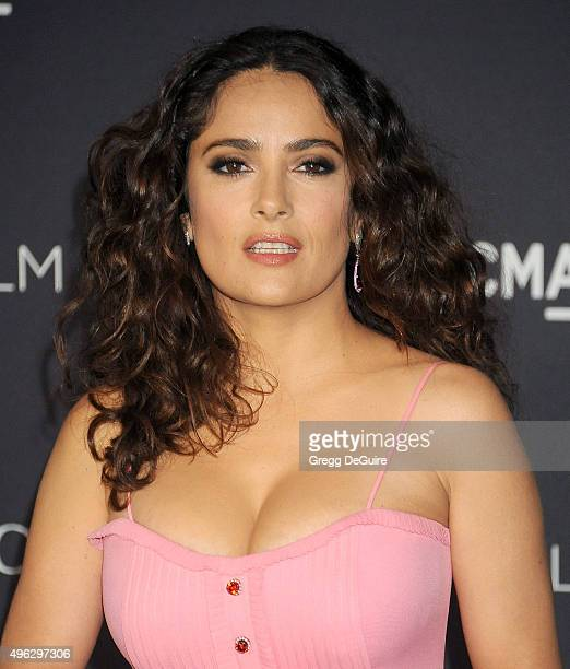 Actress Salma Hayek arrives at the LACMA 2015 ArtFilm Gala Honoring James Turrell And Alejandro G Inarritu Presented By Gucci at LACMA on November 7...