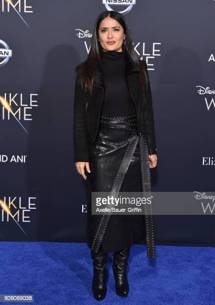 Actress Salma Hayek arrives at the premiere of Disney's 'A Wrinkle In Time' at El Capitan Theatre on February 26 2018 in Los Angeles California