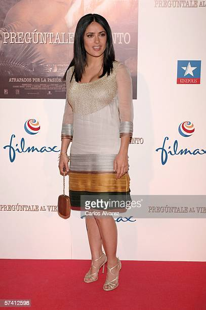 Actress Salma Hayek arrives at the premiere of her new movie 'Ask the Dust' at Kinepolis Cinema in Madrid Spain