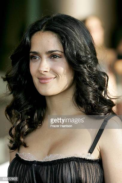 Actress Salma Hayek arrives at the premiere of Miramax's Secustro Express at the Pacific Design Center on August 3 2005 in West Hollywood California