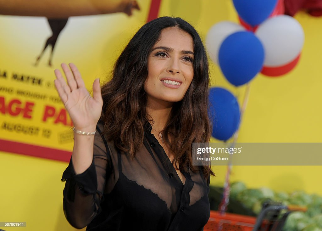 Actress Salma Hayek arrives at the premiere of Sony's 'Sausage Party' at Regency Village Theatre on August 9, 2016 in Westwood, California.