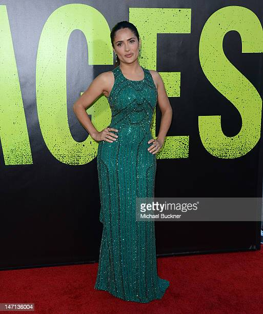 Actress Salma Hayek arrives at the premiere of Universal Pictures' Savages at Westwood Village on June 25 2012 in Los Angeles California