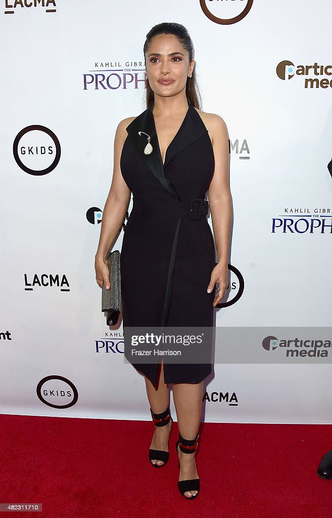 Actress Salma Hayek arrives at the Screening of GKIDS' 'Kahlil Gibran's The Prophet' at Bing Theatre At LACMA on July 29, 2015 in Los Angeles, California.