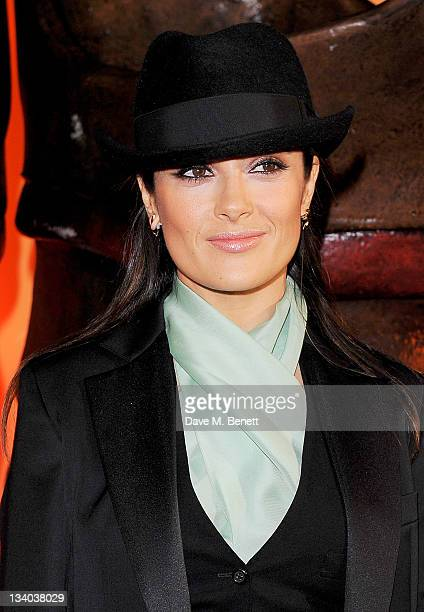 Actress Salma Hayek arrives at the UK Premiere of 'Puss In Boots' at Empire Leicester Square on November 24 2011 in London England